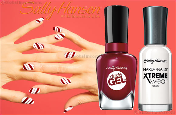 Sally Hansen Holiday Candy Cane Nail Art
