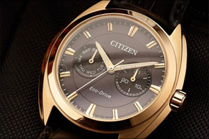 CITIZEN: Svelte BU4108-11H dress watch in black and rose gold plating makes an impact